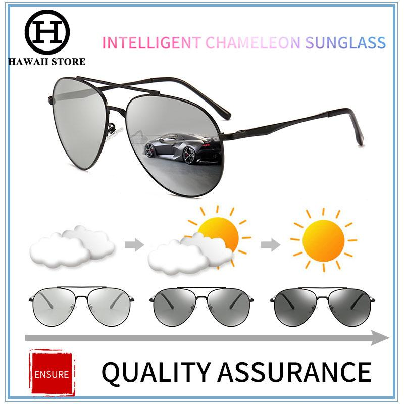 c95ea2a694 HAWAII Pilot Photochromic Sunglasses Chameleon Polarized Sun Glasses Men  All Day Change Color for Snow Light