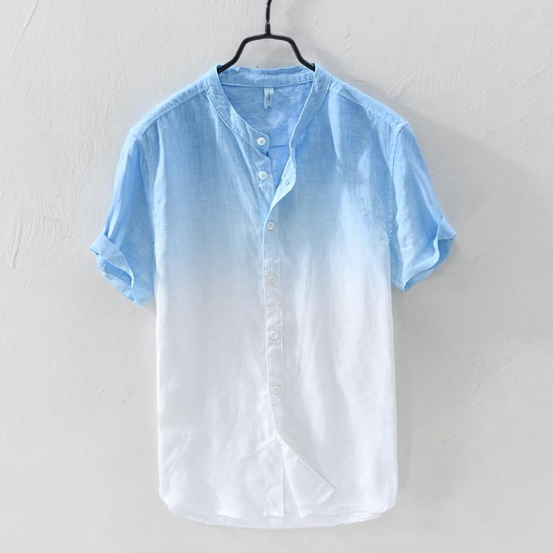 c9779a6511 Summer Japanese-style Thin Gradient Color Short Sleeve Linen Shirt man Loose  Stand Collar Leisure