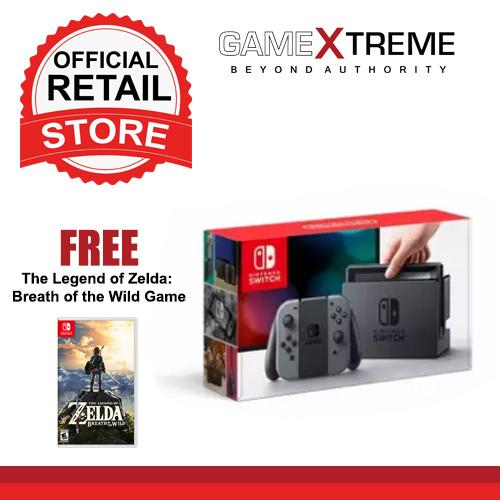 Nintendo Switch with Gray Joy‑Con with Free The Legend of Zelda: Breath of  the Wild Game