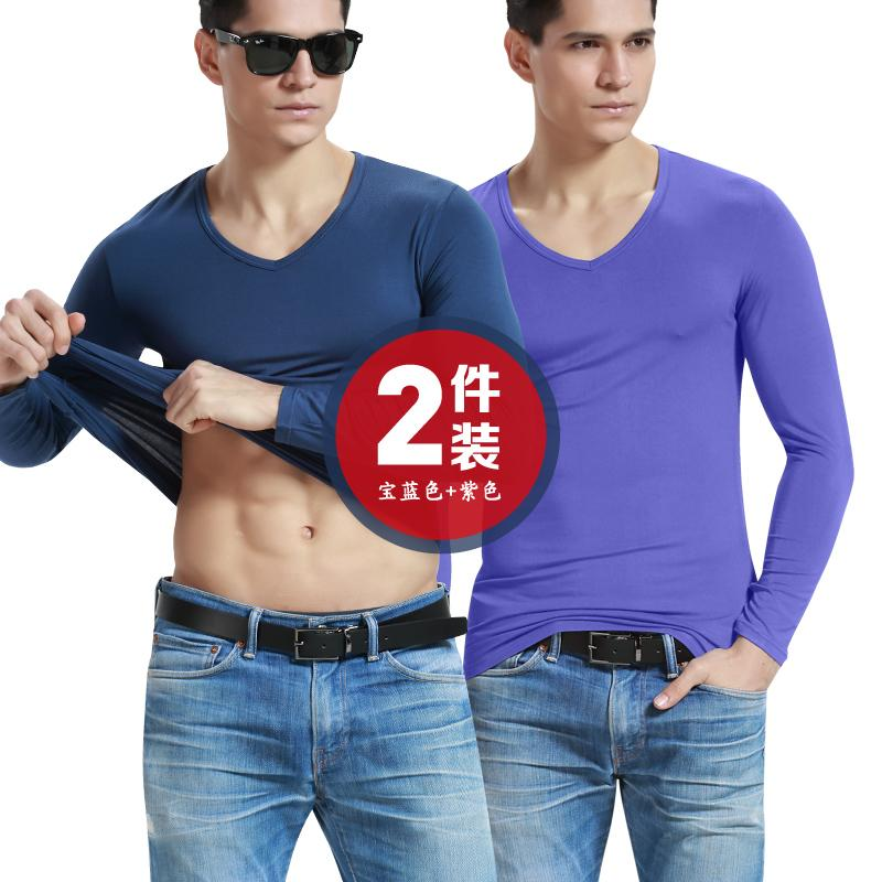 [2-Piece Pack] Men Heattech Long Sleeve Modal Solid Color Thin V-Neck Base Thermal Underwear Tops One-Piece By Taobao Collection.