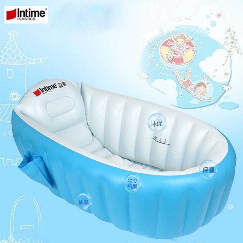 Intime Plastic Baby Inflatable Bath Tub Portable Bathtub