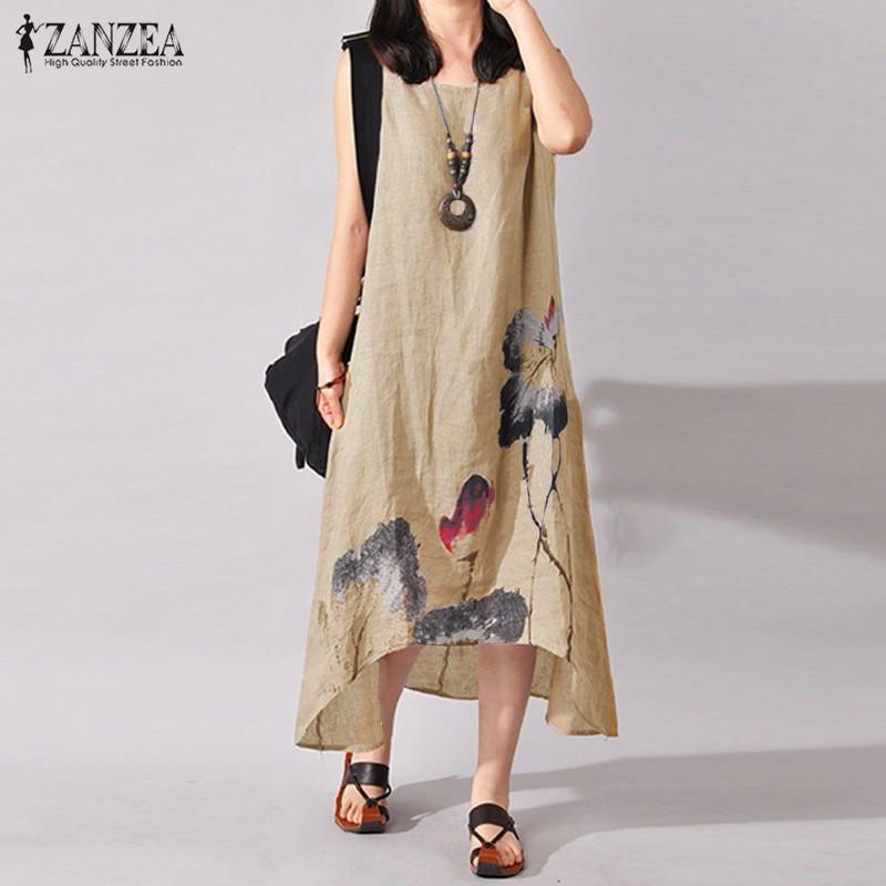 1bc33e36e2dc ZANZEA Plus Size S-5XL Women Sleeveless Loose Cotton Linen Summer Sundress  A-line