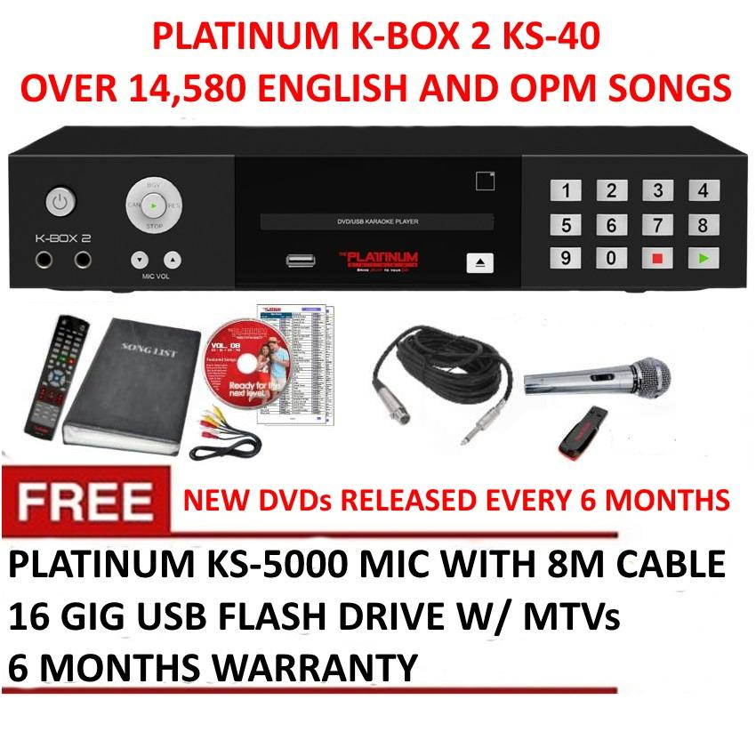 Platinum K-BOX 2 KS-40+ DVD Karaoke Player with 14960 Songs,Free Mic and USB