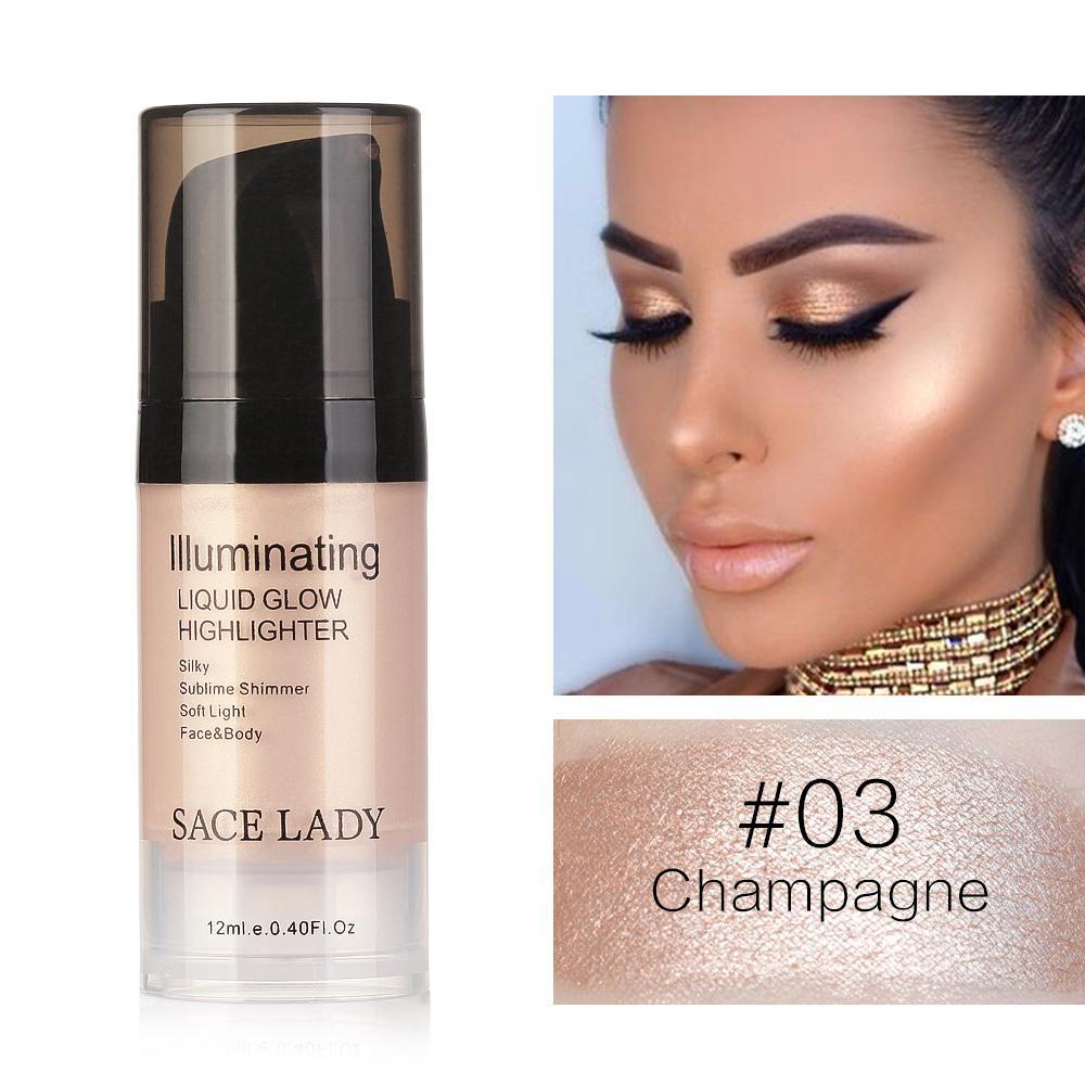 SACE LADY Liquid Highlighter&Bronzer Shimmer Face Illuminator Face&Body ContouringConcealer Cream Shiny Make up Glow Cosmetics