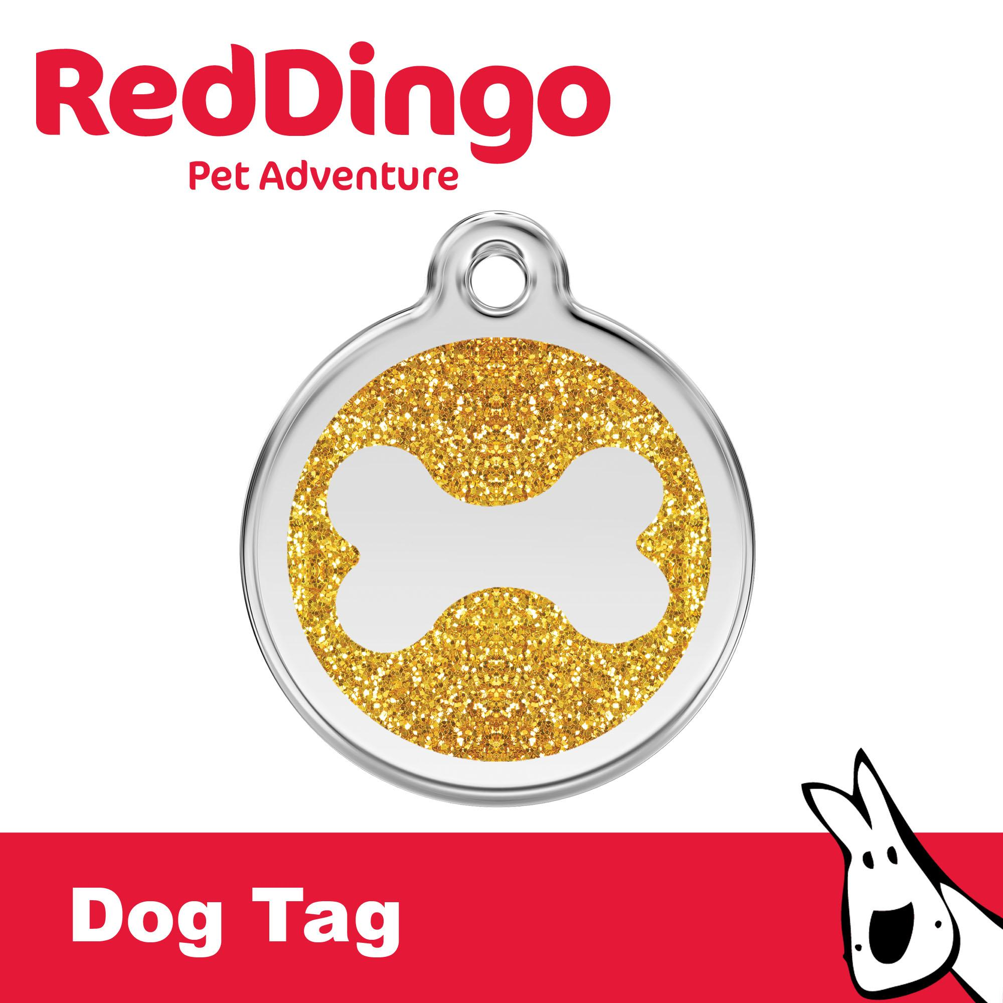 Red Dingo Dog Tag - Gold Glittered Bone