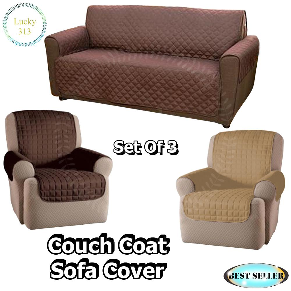 Couch Coat Reversible Washable Sofa Cover Plus 2pcs Single