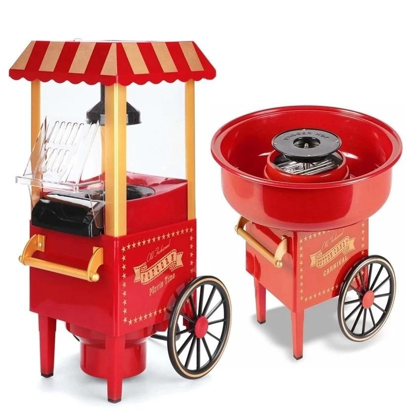 Old Fashioned Popcorn Movie Time Maker (red) With Carnival Cotton Candy Maker By Town Shop.