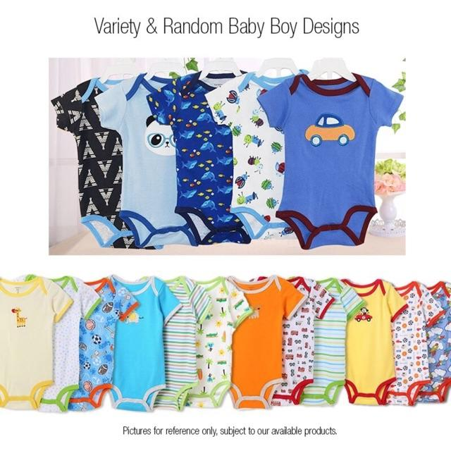 5 pcs Pack Carters Bodysuit 100% Cotton Baby Boy Onesie Romper Set (Random Design