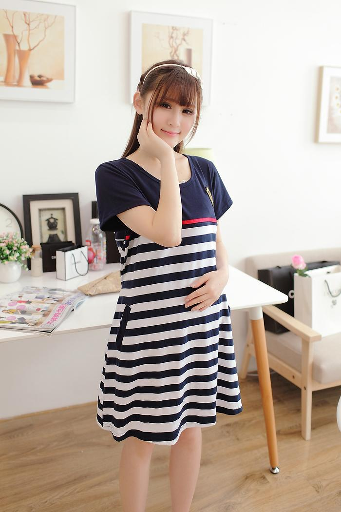 Short Sleeve Cotton Plus Size Maternity Dress (Long-sleeved) Maternity Care Maternity Wear
