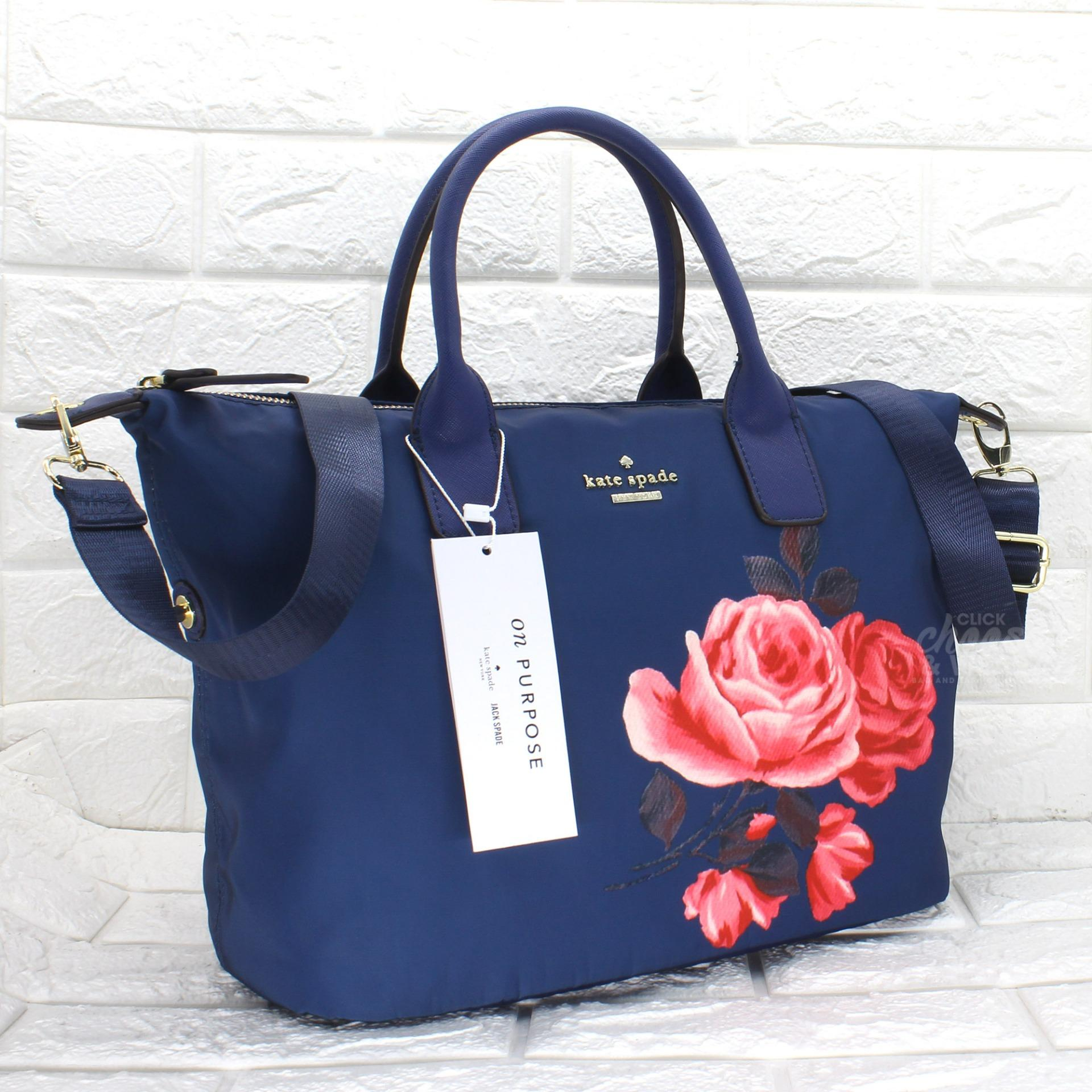 Authentic Kate Spade Classic Weekender Bag Lyla Rose Nylon Tote With Printed Blue