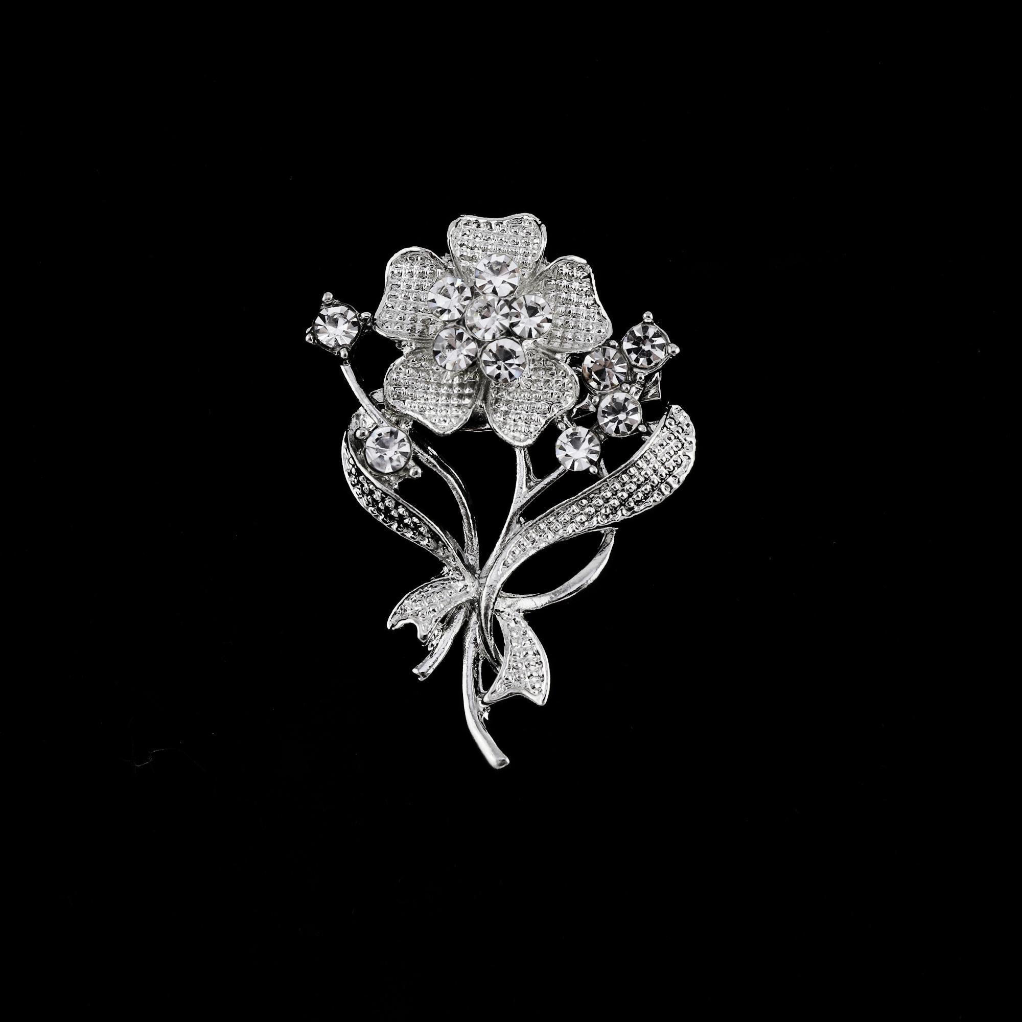ed81cb1c14 Twinkle Fashion-Elegant Silver Rhinestone Brooch-C00422