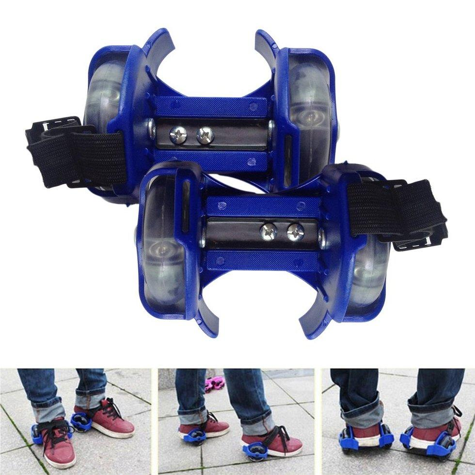 Gift 3-Color Light Small Whirlwind Pulley Adjustable Flash Wheel Roller Skating Shoes Blue - Intl By Giftforyou.