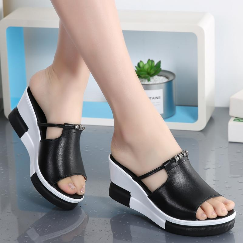 181771b007f 2018 New Style Sandals women Summer Outer Wear Slipper Leather Slanted Heel  Waterproof Platform High-