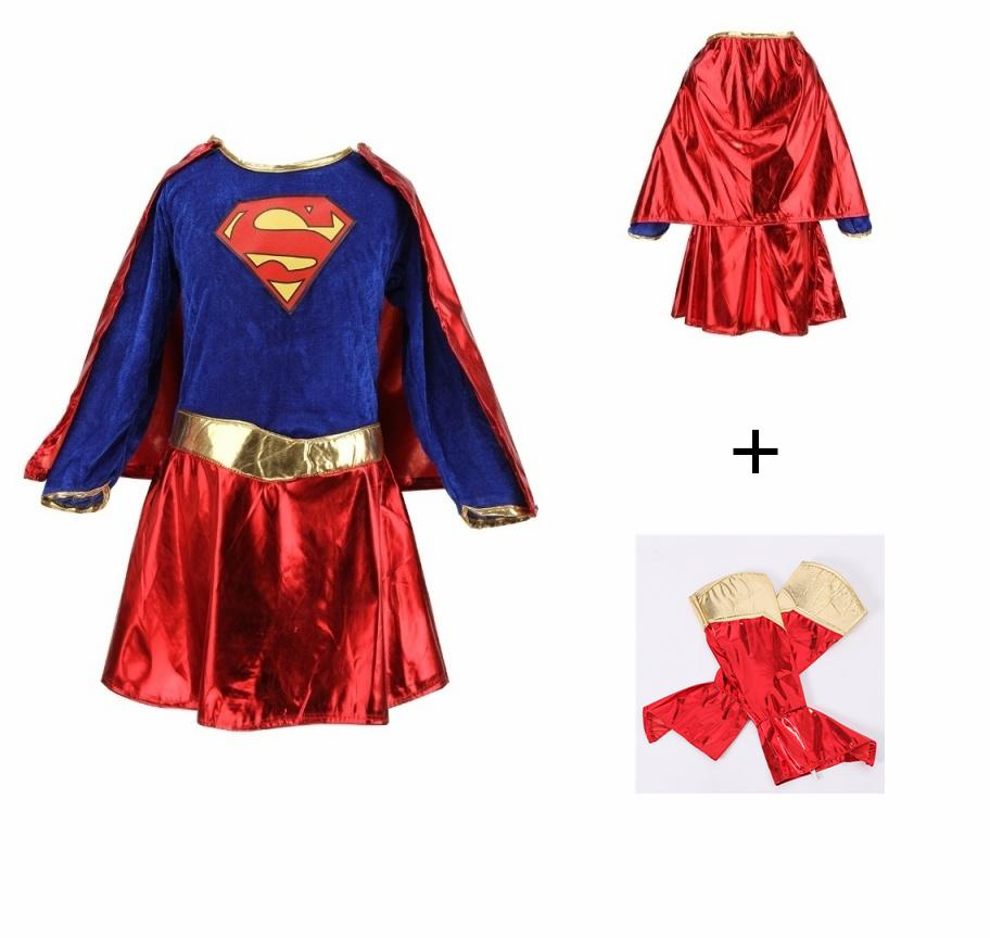 Great-King Kids Girls Costume Fancy Dress Superhero Supergirl Comic Book  Party Outfit - Intl