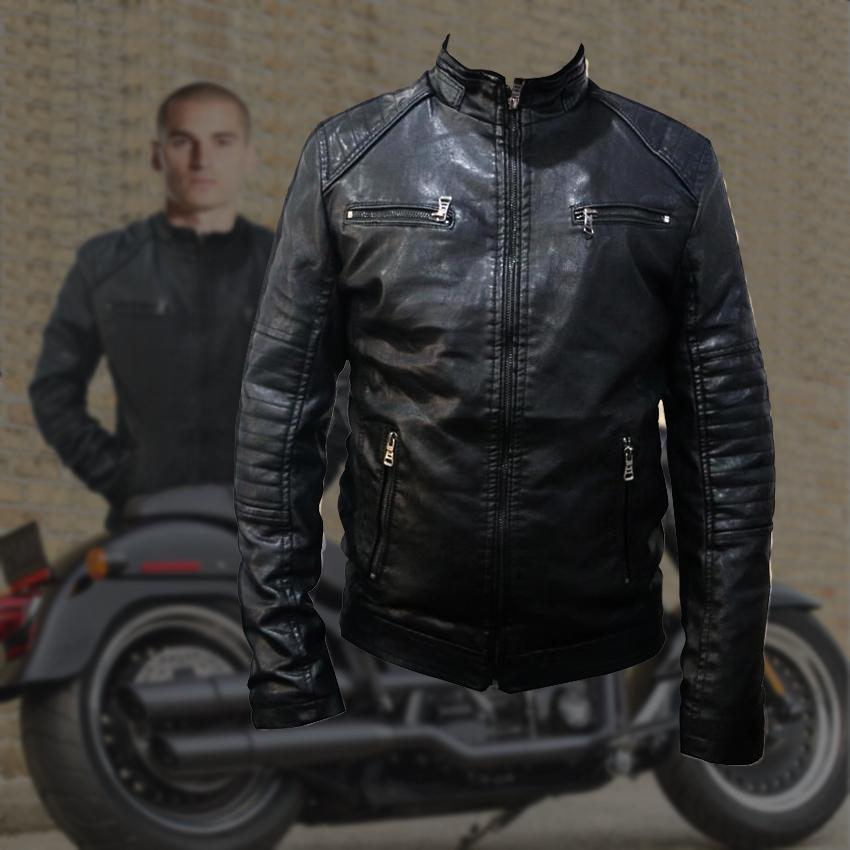 0e82bae2a7214 JENDEX  688 Motorcycle Leather Jacket Men Biker Moto Jacket (Black)