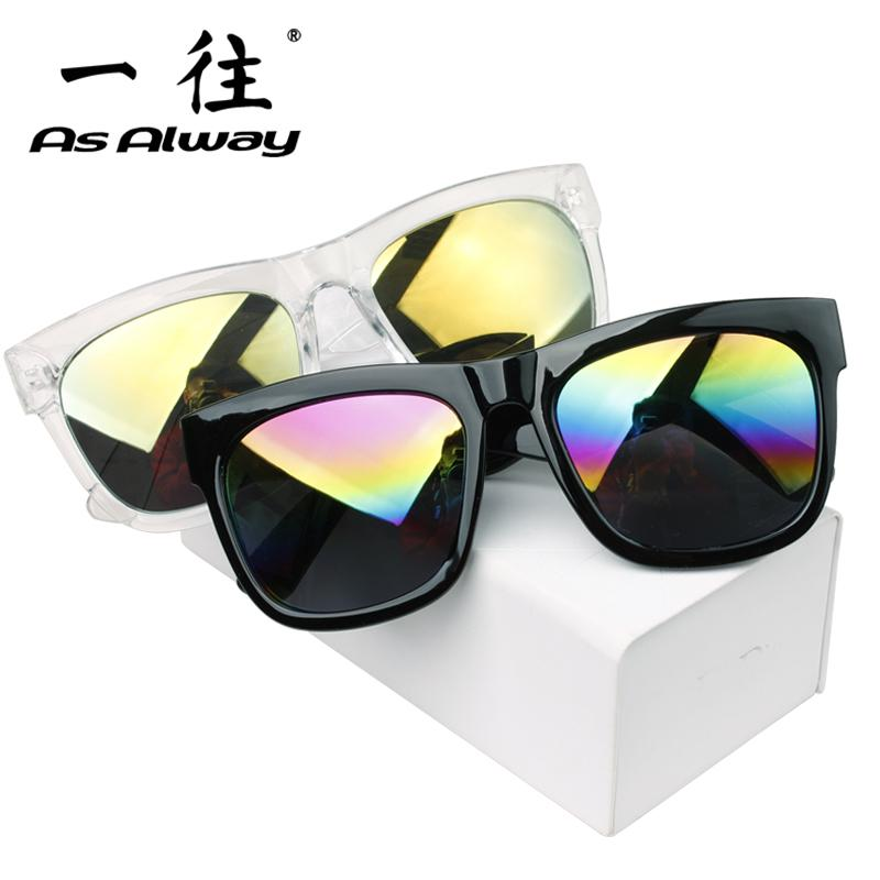 Fashion Color Film Reflective Sun Glasses Korean Style Large Box Vintage Driving Sunglasses man women Driving