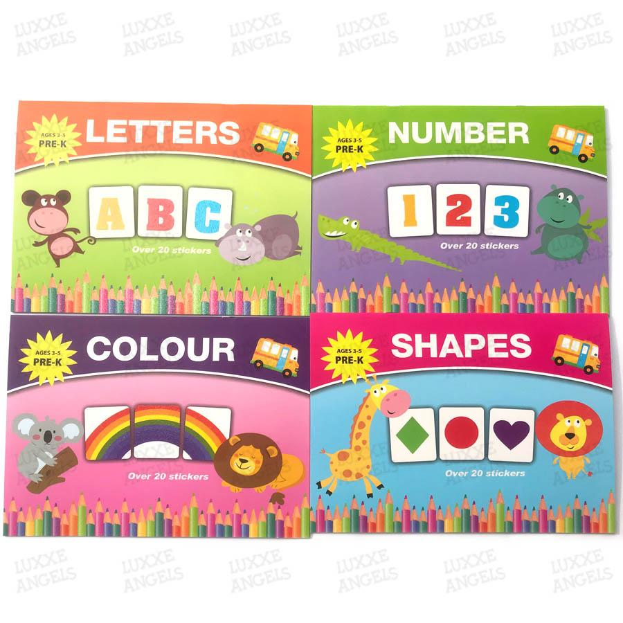 4 Educational Workbook For Kids ( Letters, Numbers, Colors And Shapes) By Luxxe Angels.