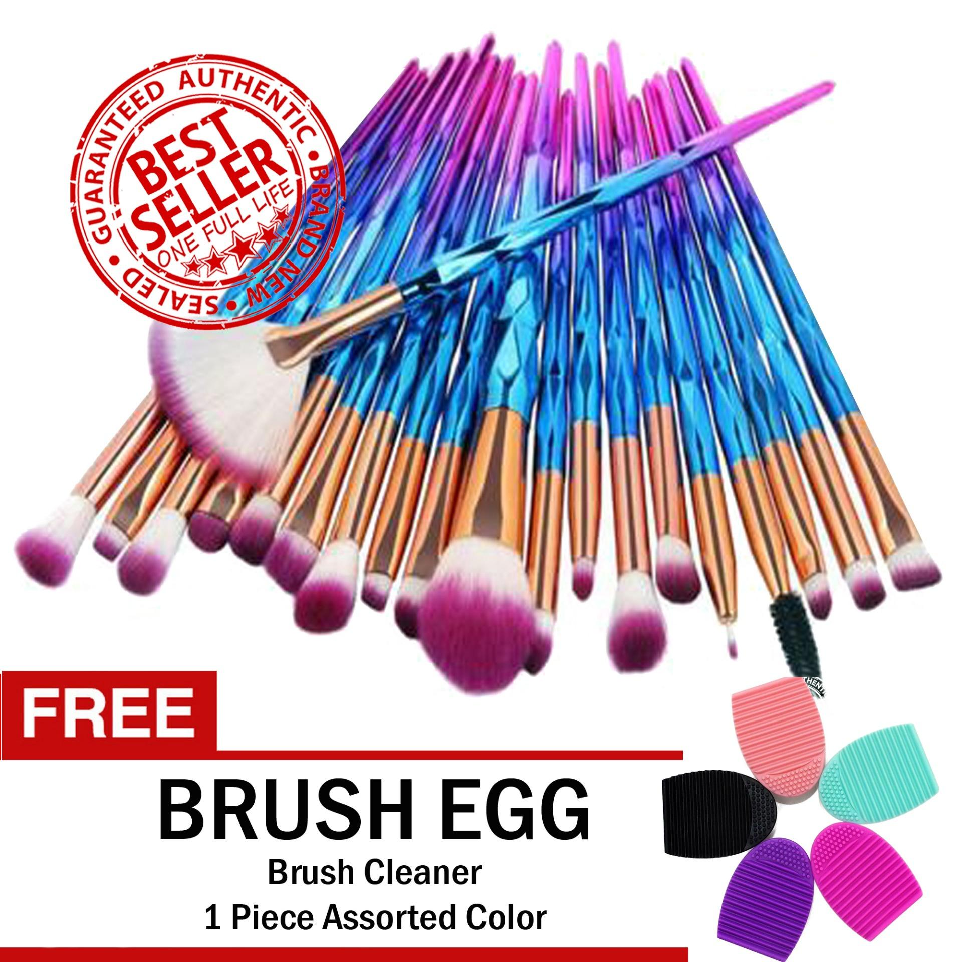 Unicorn Makeup Brush Set 20-Piece RAINBOW with FREE Brush Egg Brush Cleaner Philippines