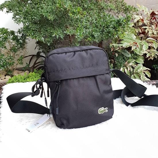 b5afc5d9a Lacoste Neocroc Canvas Vertical All Purpose Shoulder Bag For Men - Black