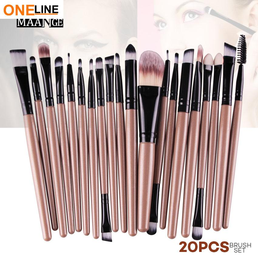 Oneline 20Pcs Makeup Brushes Set (Brown) Philippines