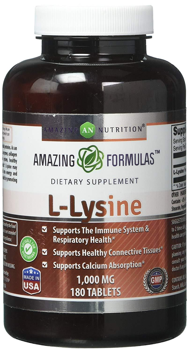 Amazing Nutrition Amazing Formulas L-Lysine - 1000mg Amino Acid Vitamin  Tablets - Commonly Used For Cold Sores, Shingles, Immune Support,  Respiratory