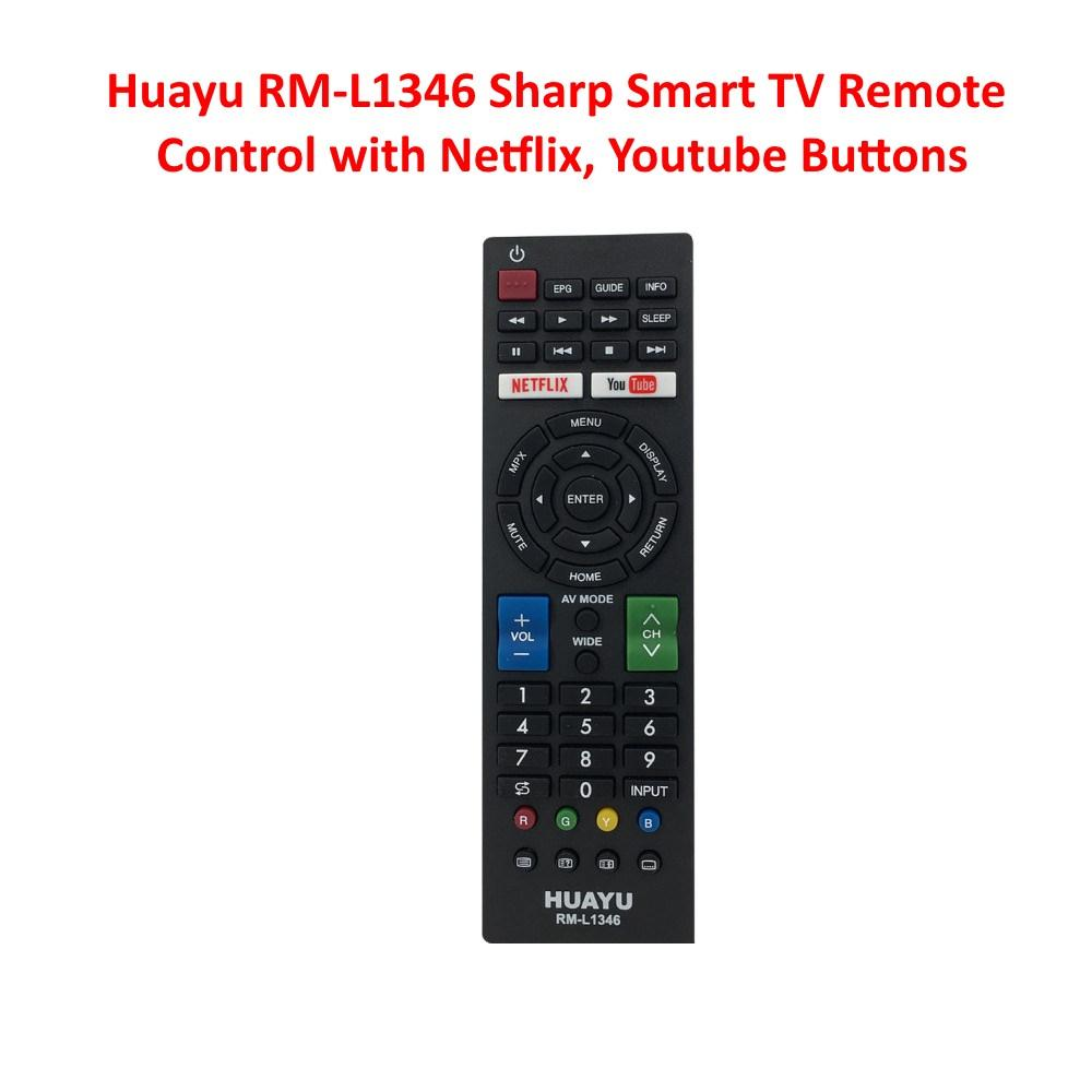 Huayu RM-L1346 Sharp Smart TV Remote Control with Netflix, YouTube, Multi  Media Buttons