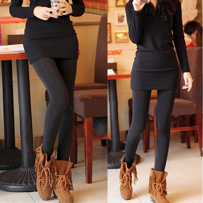 d686596e0 Style  Brushed Stretch Fleece Lined Thick Tights Warm Pants Leggings Color   Black Package Includes  1pc  Legging Pant Size  Waist 24.18-35.88