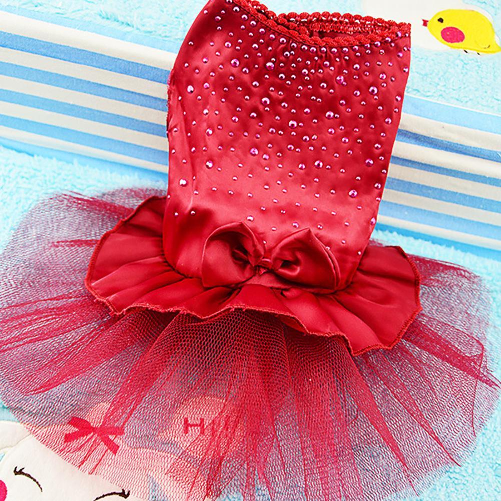 Lb Dog Clothes Pet Tutu Dress Princess Fluffy Hot Drilling Wedding Lace Skirt Clothing Apparel L By Live Birds.