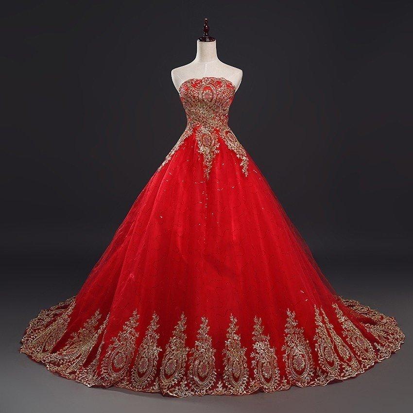 Vintage Lace Red Wedding Dresses Women New Fashion Elegant Plus Size