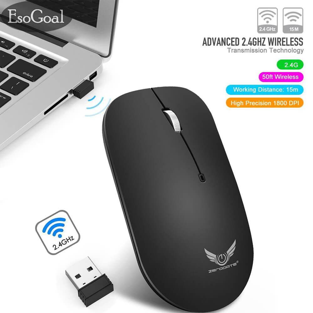 EsoGoal 2.4G Slim Wireless Mouse with Nano Receiver, Portable Mobile Optical Mice for Notebook
