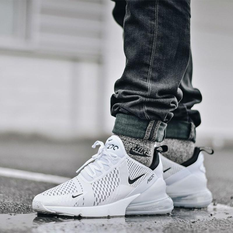 54031bce69fde Nike Air Max 270 Flyknit Shoes White Black red Running Shoes for Men and