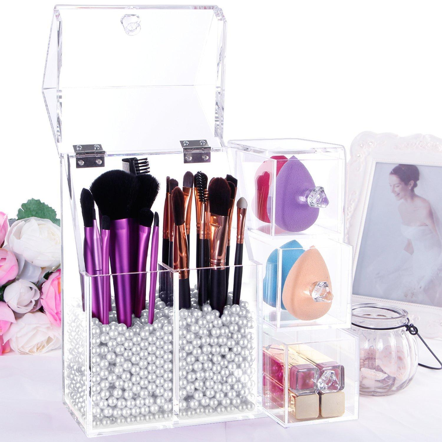 Acrylic Dustproof Make Up Brushes Tools Holder Organizer with Lid and Drawers Big Philippines