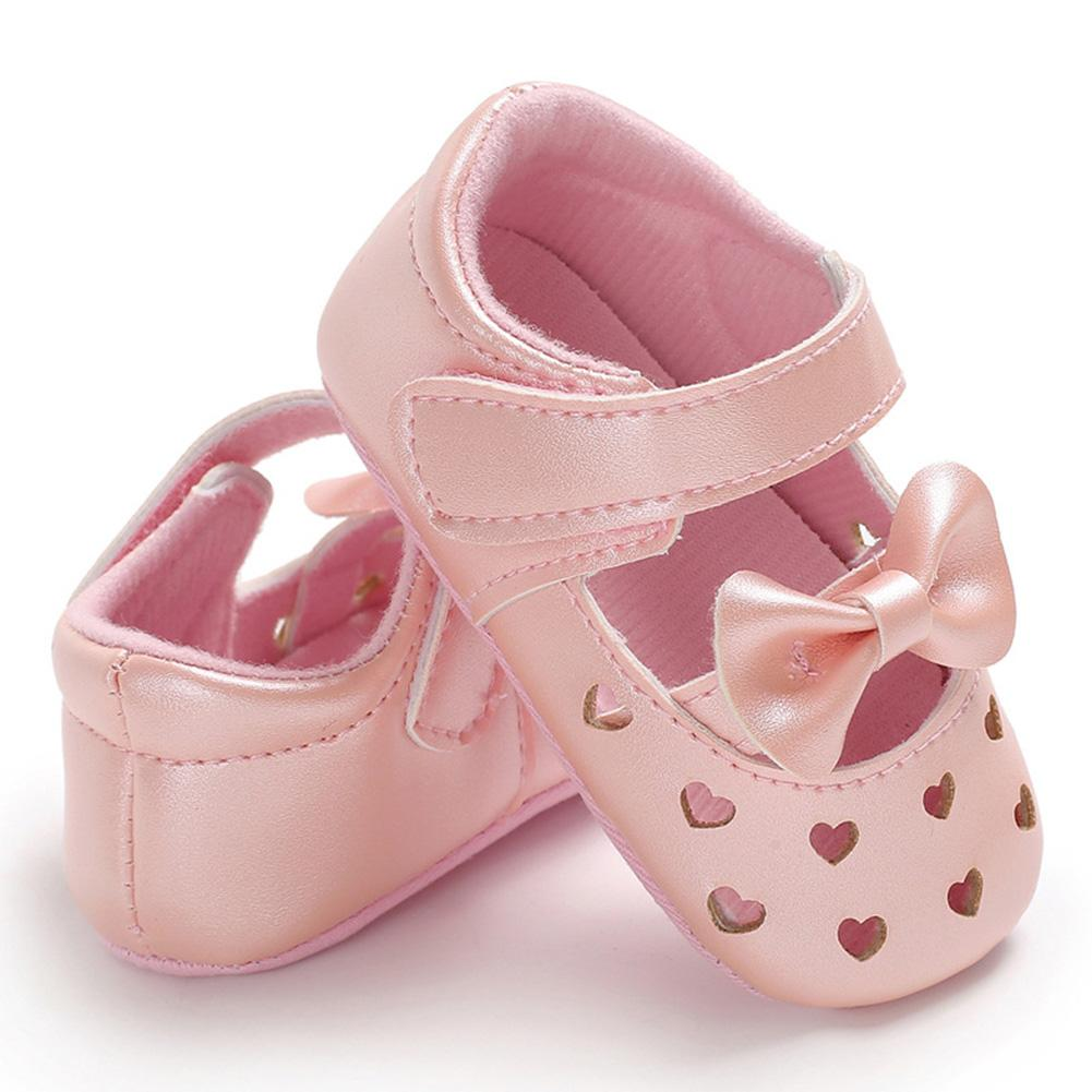 dd9a788856 Baby Girls Soft Sole Shoes Hollow Heart-shaped Bowknot Princess Shoes PU  Leather