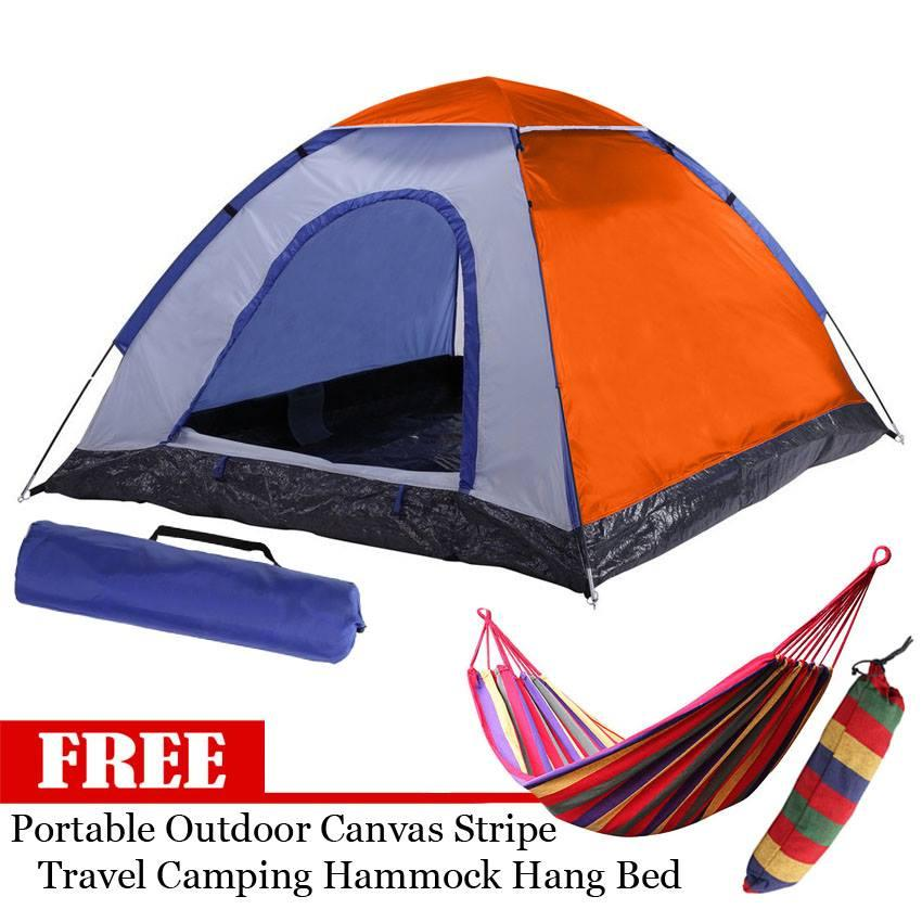 4-Person Dome Camping Tent (Multicolor) with FREE Portable Travel Camping  Hammock Hang Bed