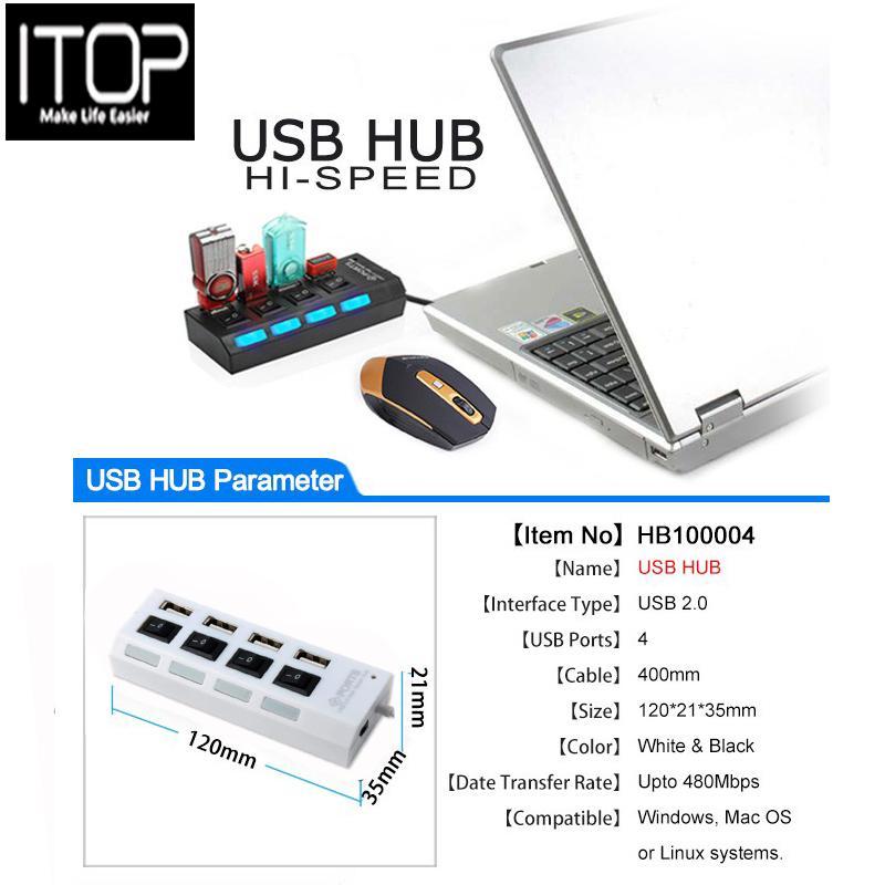 ITOP 4 PORT USBHUB HI-SPEED support 500GB USB 2 0 High speed Hub