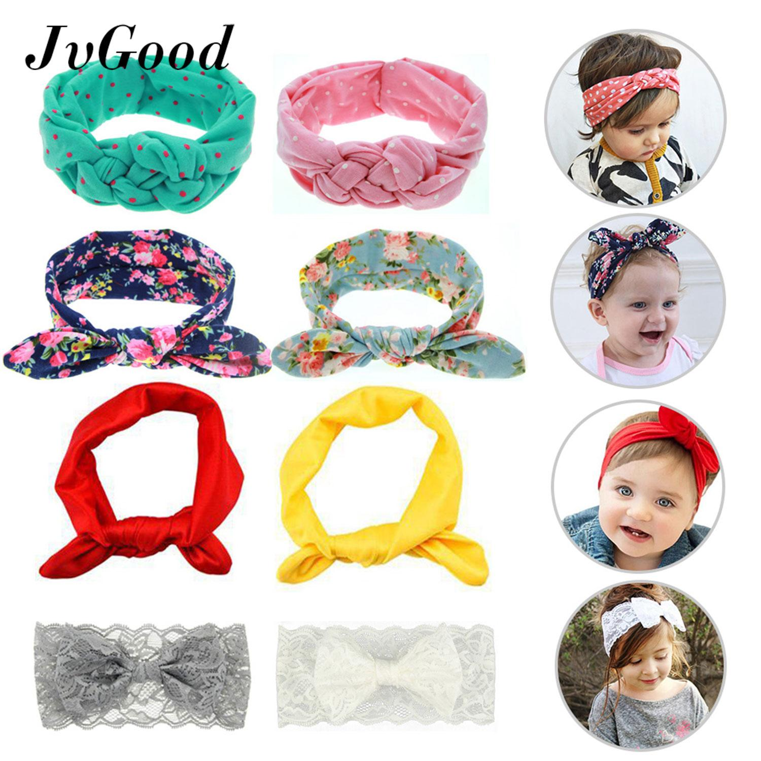 JvGood 8Pcs Baby Hairband Girl Elastic Knotted Hair Accessories Headbands for Newborn,Toddler and Childrens