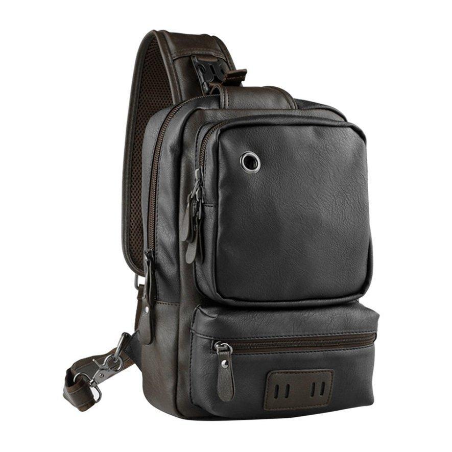 95decbf8cc15 ANGEL Men Outdoor PU Leather Satchel Bag Chest Bag Crossbody Single  Shoulder Bag