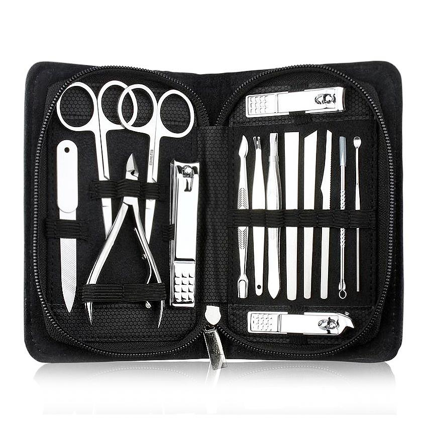Wholesale 15pcs/set Nail Clippers Manicure Pedicure Kits Professional Stainless Steel Nail Care Tool Sets with Black case Philippines