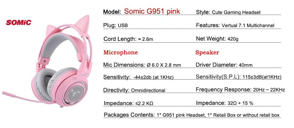 a2fae4b5ce2 Specifications of SOMIC G951 Pink Noise Cancelling Lovely Cat Girl PS4 Gaming  Headphones LED Headset with SVE Vibration