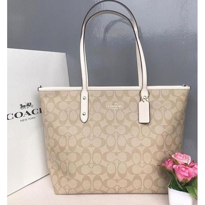 3dc2a476 Authentic Coach Reversible City Tote in Signature Chalk - F36658