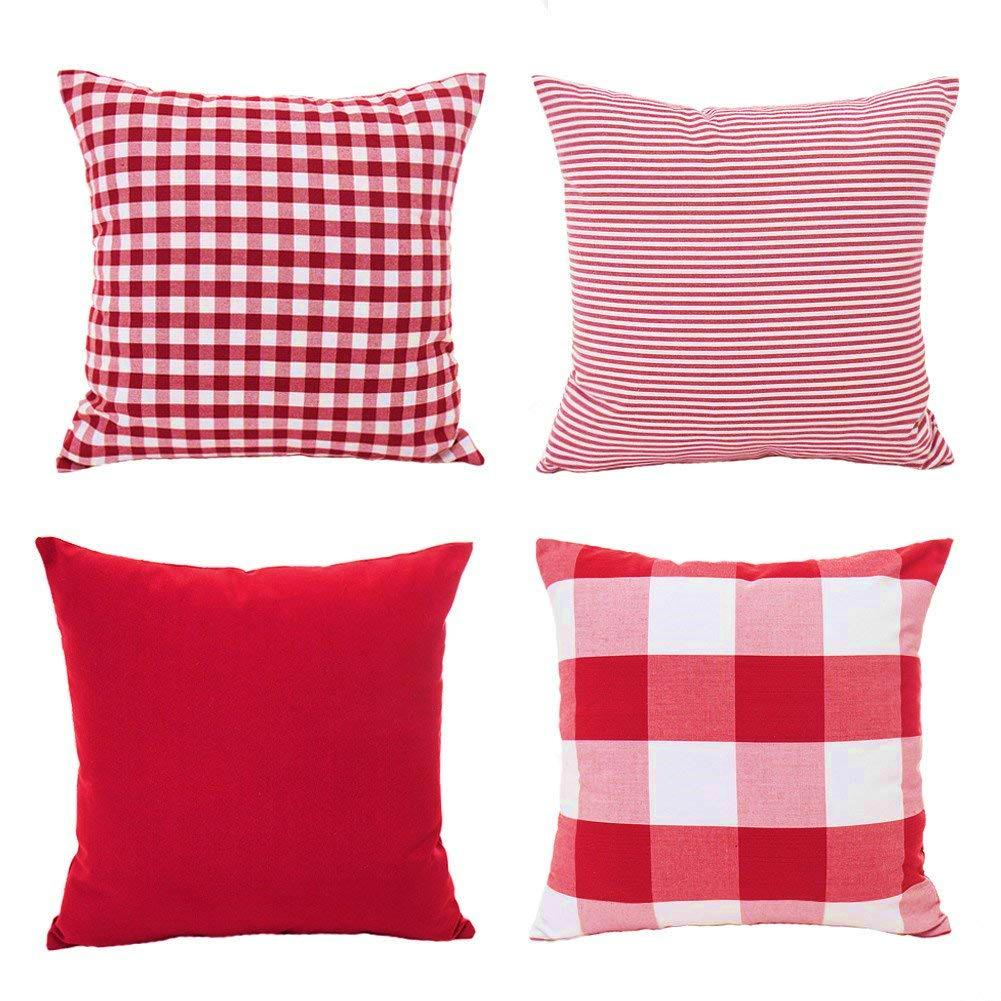 Christmas Red White Throw Pillow Case Cushion Cover Holiday Decor for Sofa  Set of 4( 1e5523b20d