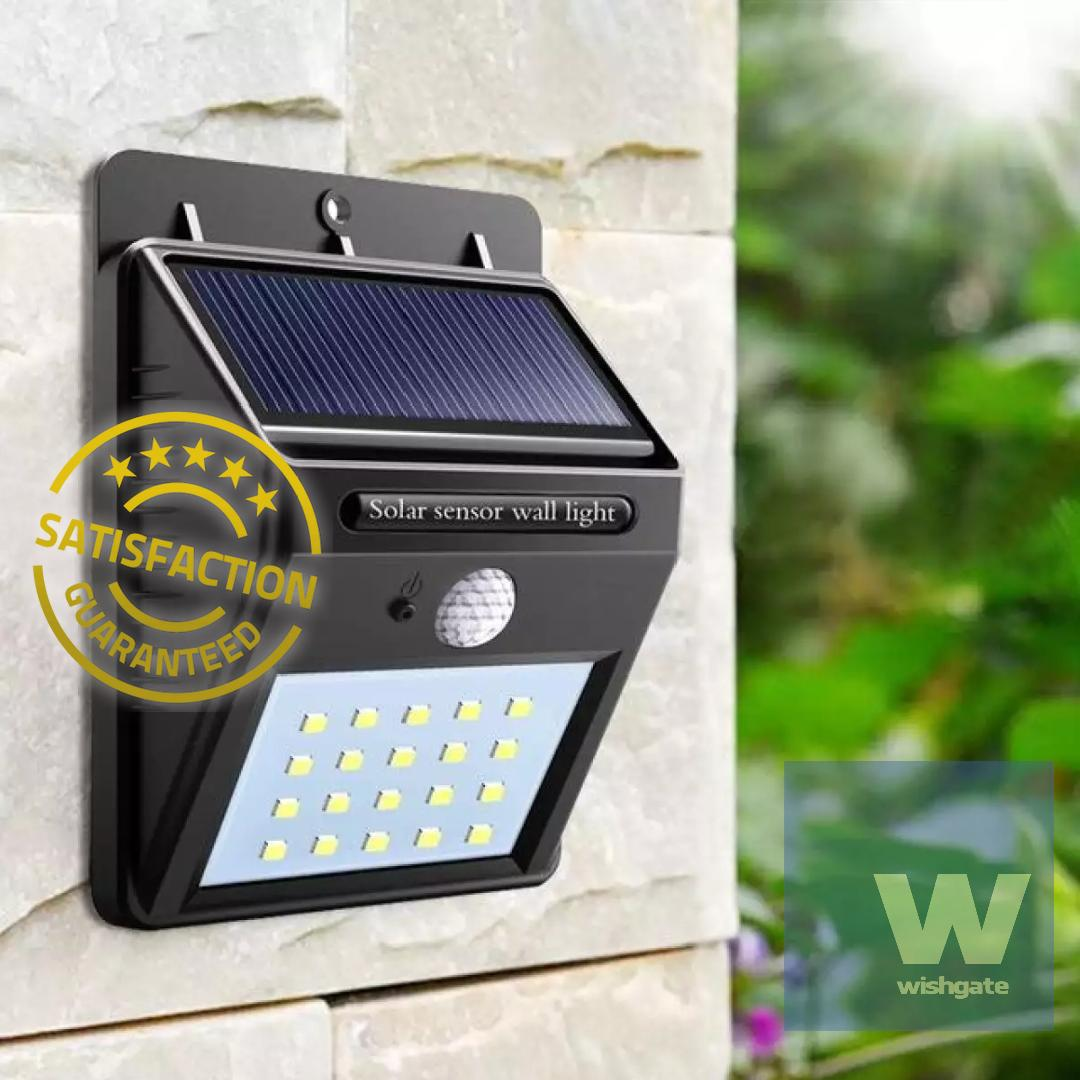 Wishgate Solar Wall Light Outdoor Waterproof 20 Led Pir Motion Sensor Great For Patios