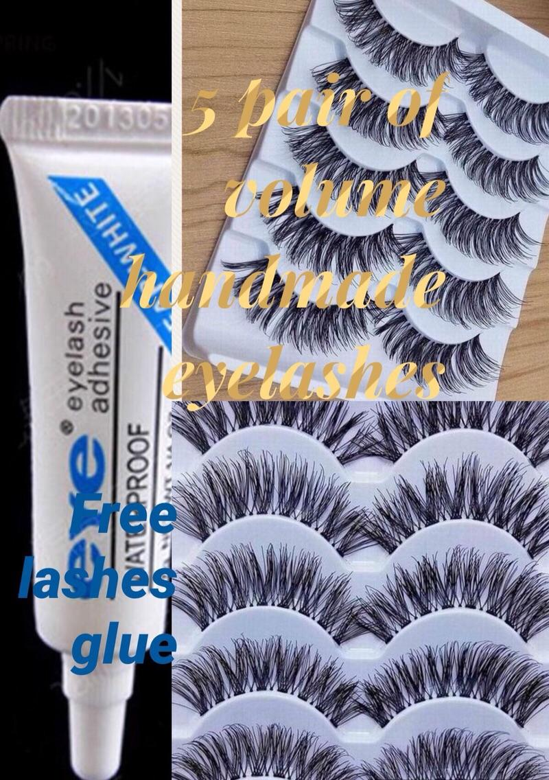5 pair volume thick lashes with free glue Philippines
