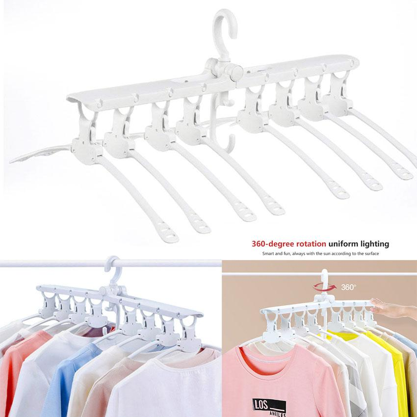 Multifunctional 360 Rotary Foldable Clothes Hanger (White)