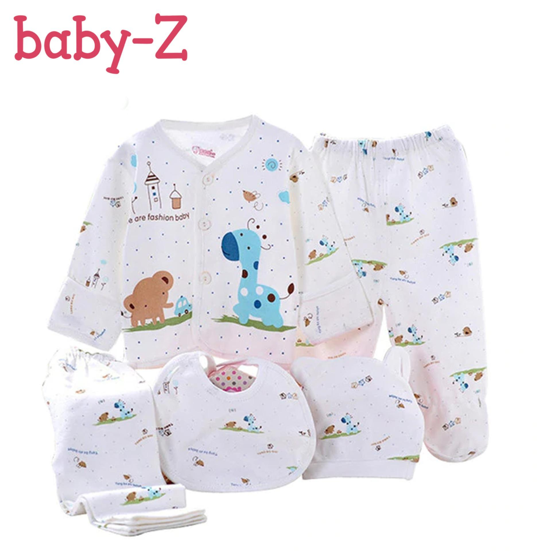 24c5c6176f9 Baby-Z 5pcs Newborn Babies Cotton Underwear Cap Bib Long Sleeve Animal  Print (Blue
