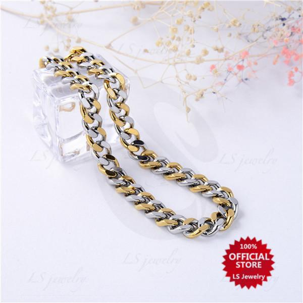 LS Jewelry stainless gold plated And White Gold Two tone Bracelet B0777