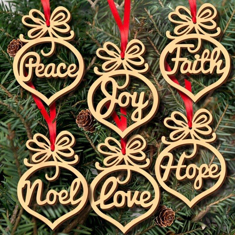 Great-King 6pcs Wooden Hanging Ornament For Christmas Featival Party Decoration (English) by