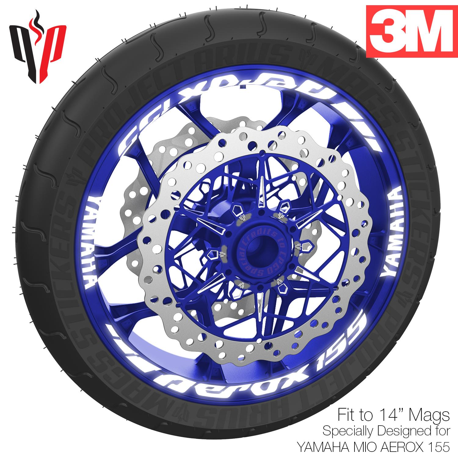 Pa highly reflective mags sticker for yamaha mio aerox 155 white