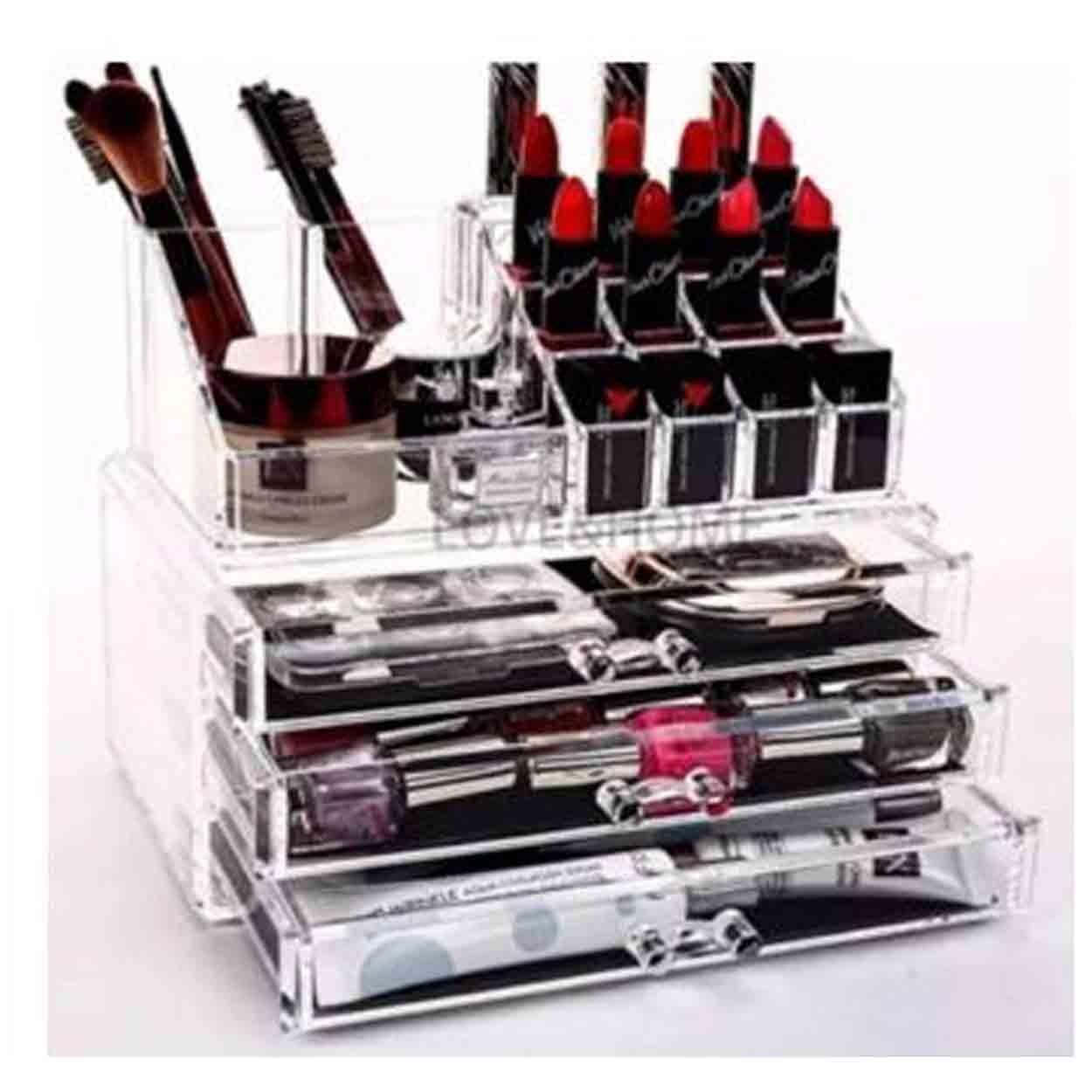 3 Layers Clear Acrylic Cosmetic Drawers Makeup Jewelry Storage Display Organizer Box Lipstick Holder Stand Make up Brush Eyeshadow Nail Polish Case Container Philippines