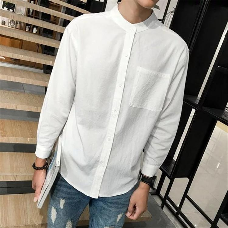 53b38e29 Autumn Clothing Men Japanese-style Solid Color Leisure Cotton Linen Shirt  Youth Students Korean Style